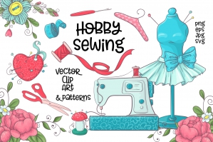 Hobby Sewing - Vector Clip Art