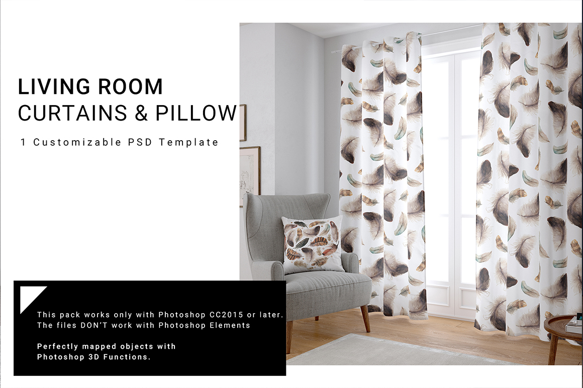 Living Room Curtains Pillow Set