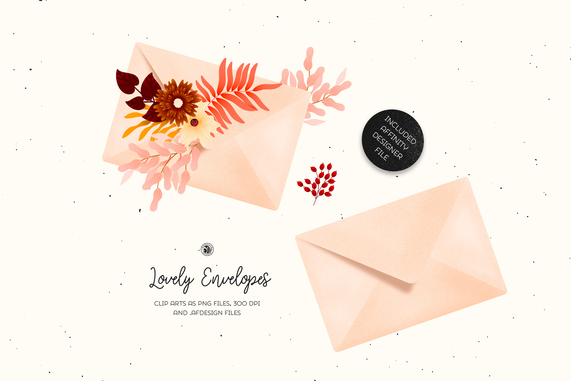 Lovely Envelopes - Pastel Colors and Floral Clipart