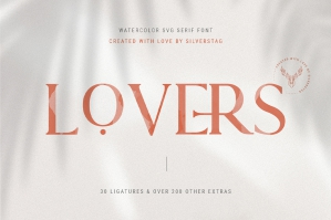 Lovers .SVG Serif Font & Over 240 Extras
