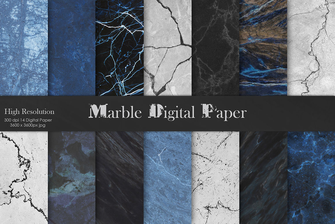 Navy Blue Marble Digital Paper Textures