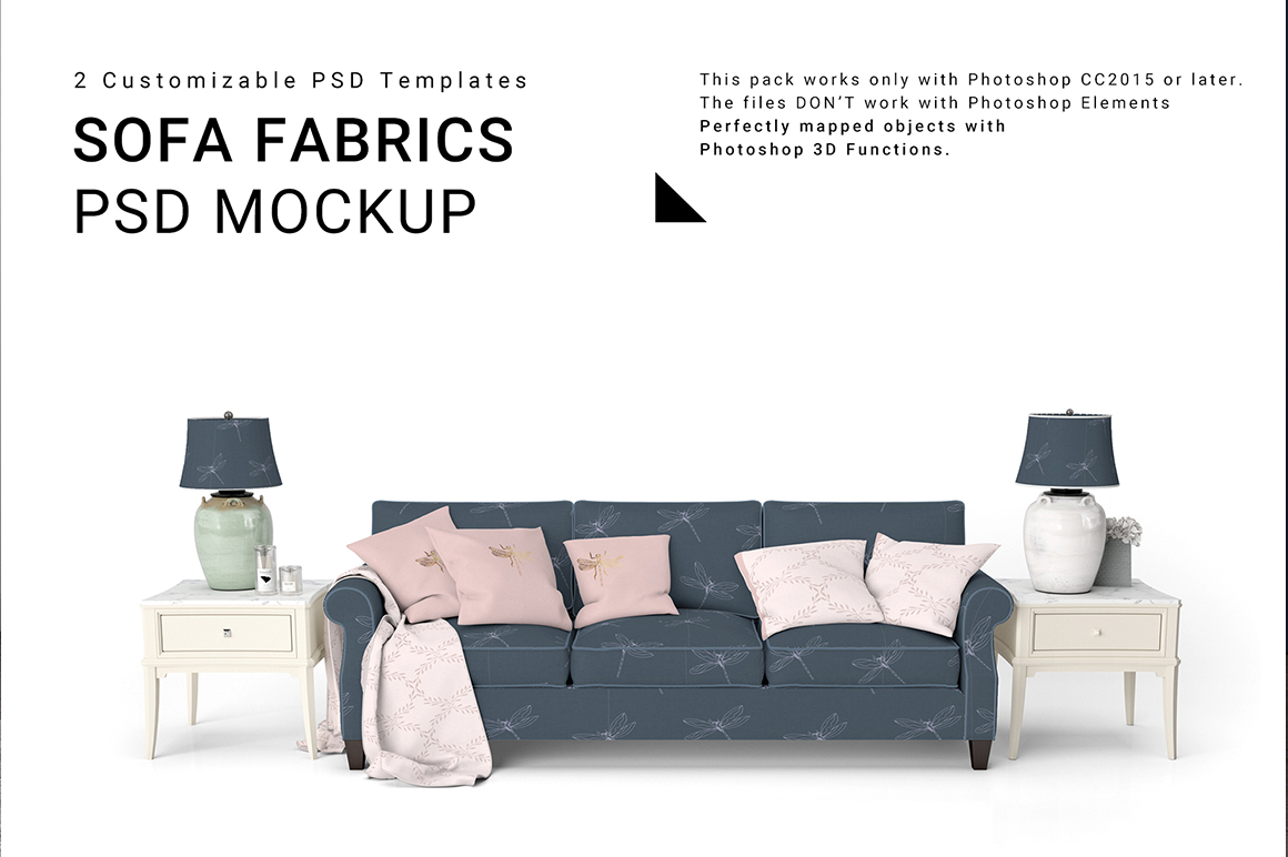 Sofa and Throw Pillows Studio Mockup Set