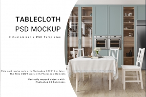 Square Tablecloth in Kitchen Mockup Set