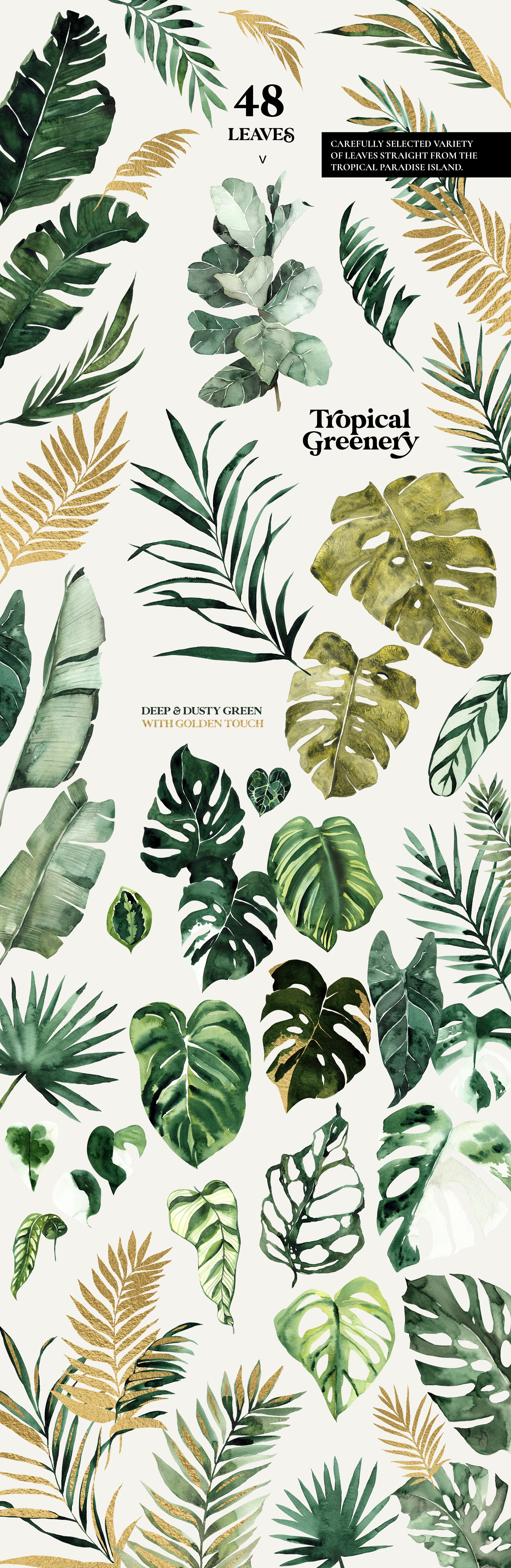 Tropical Greenery - Green and Gold Leaves Set