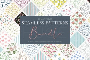 30 Watercolour Seamless Patterns