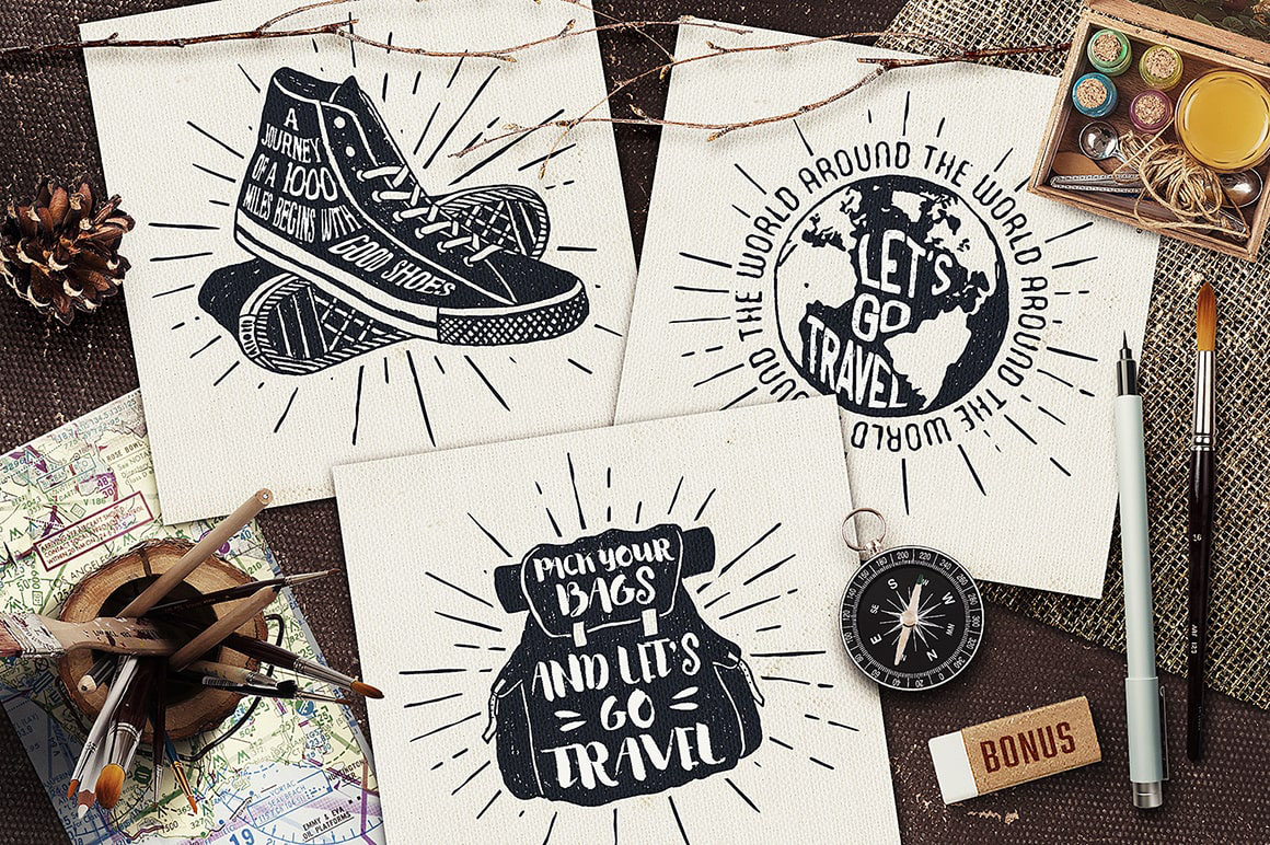 I Love Travelling 25 Hand Drawn Travel Objects