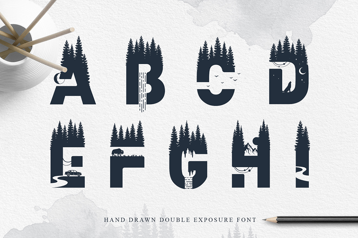 Into The Wild. Double Exposure Font