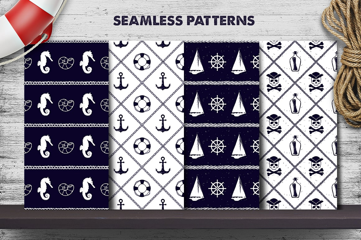 Nautical Collection - 65 Hand Drawn Objects + Bonus
