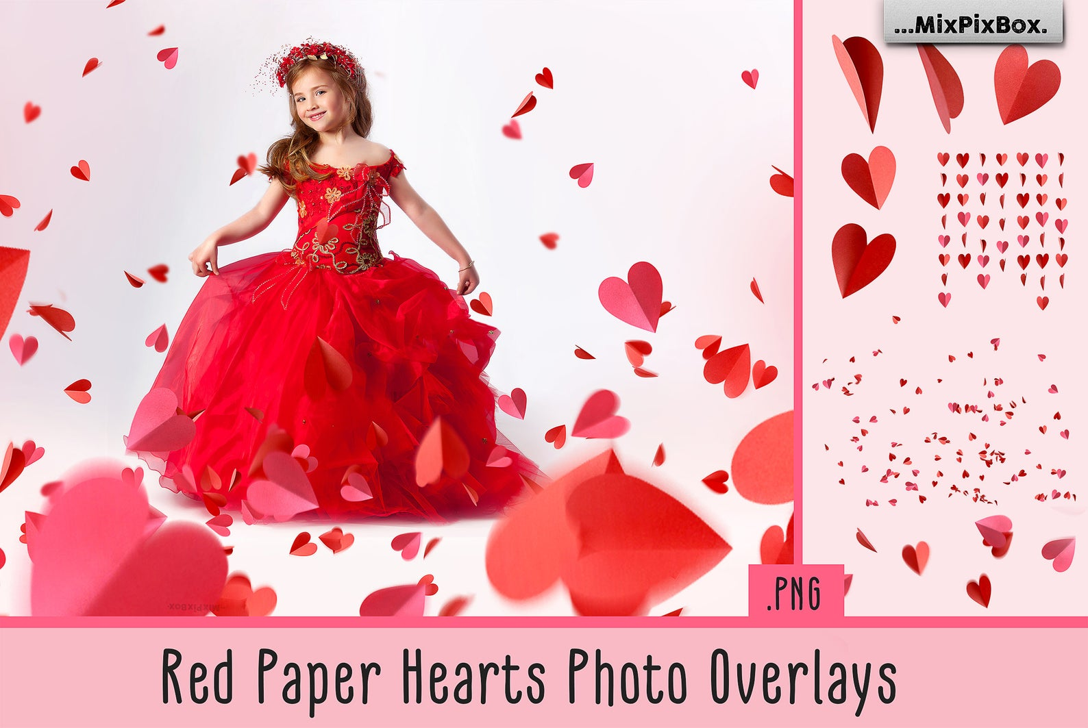 Red Paper Hearts Overlays