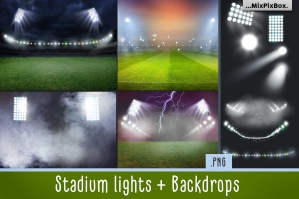 Stadium Lights Overlays + Backdrops