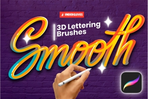 22 3D Lettering Stroke Brushes for Procreate