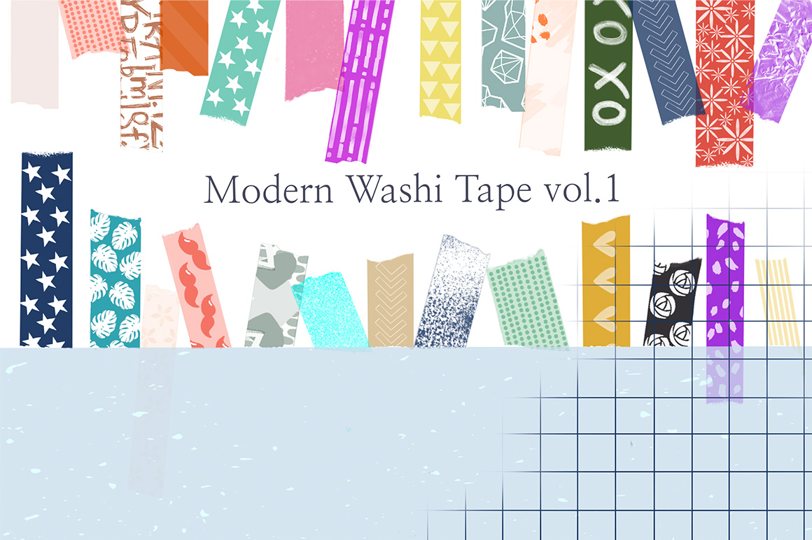 30 Modern Washi Tape Brushes for Procreate - Vol. 1