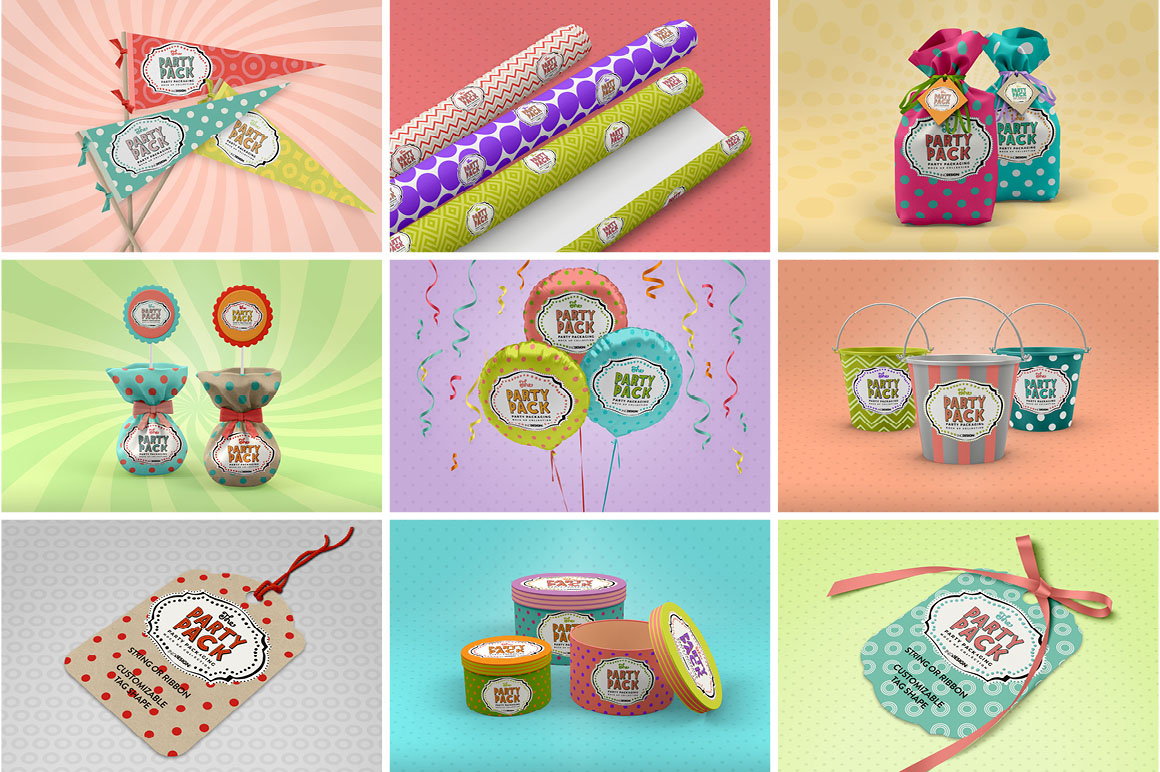 BUNDLE: Party Packaging Mockup Collection