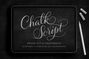 Chalk Script Procreate Brush Kit