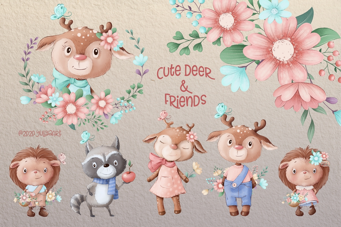 Cute Deer and Friends