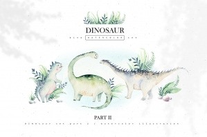 Dino Watercolor Collection - Dinosaur Set Part II