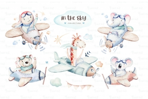 In The Sky Watercolor Set - Baby Animal Pilot