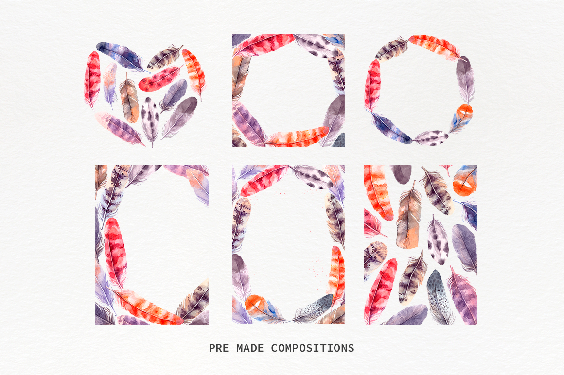 Lovely Feathers Watercolor Collection