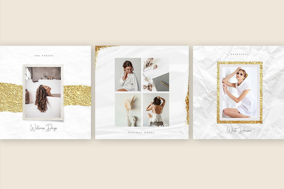 Minimal Goldfoil Instagram Posts and Stories