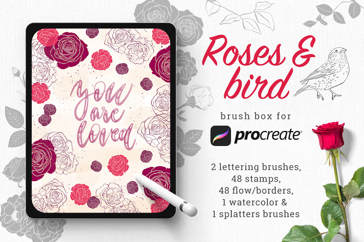 Roses and Bird: Brush Box for Procreate