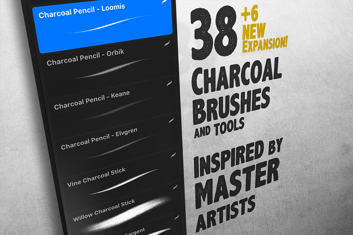 The Charcoal Master Pack: Procreate Brush Set