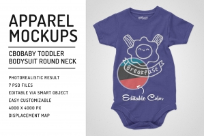 Toddler Bodysuit Crew Neck Mockups