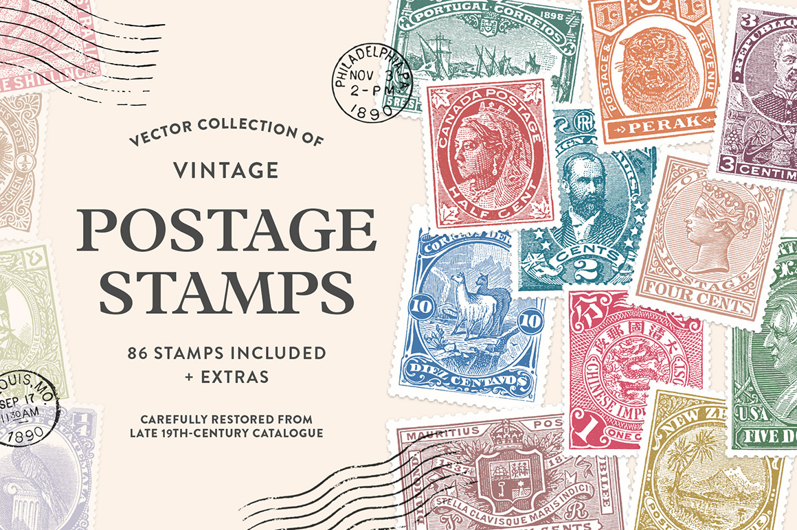 Vintage Postage Stamps Collection