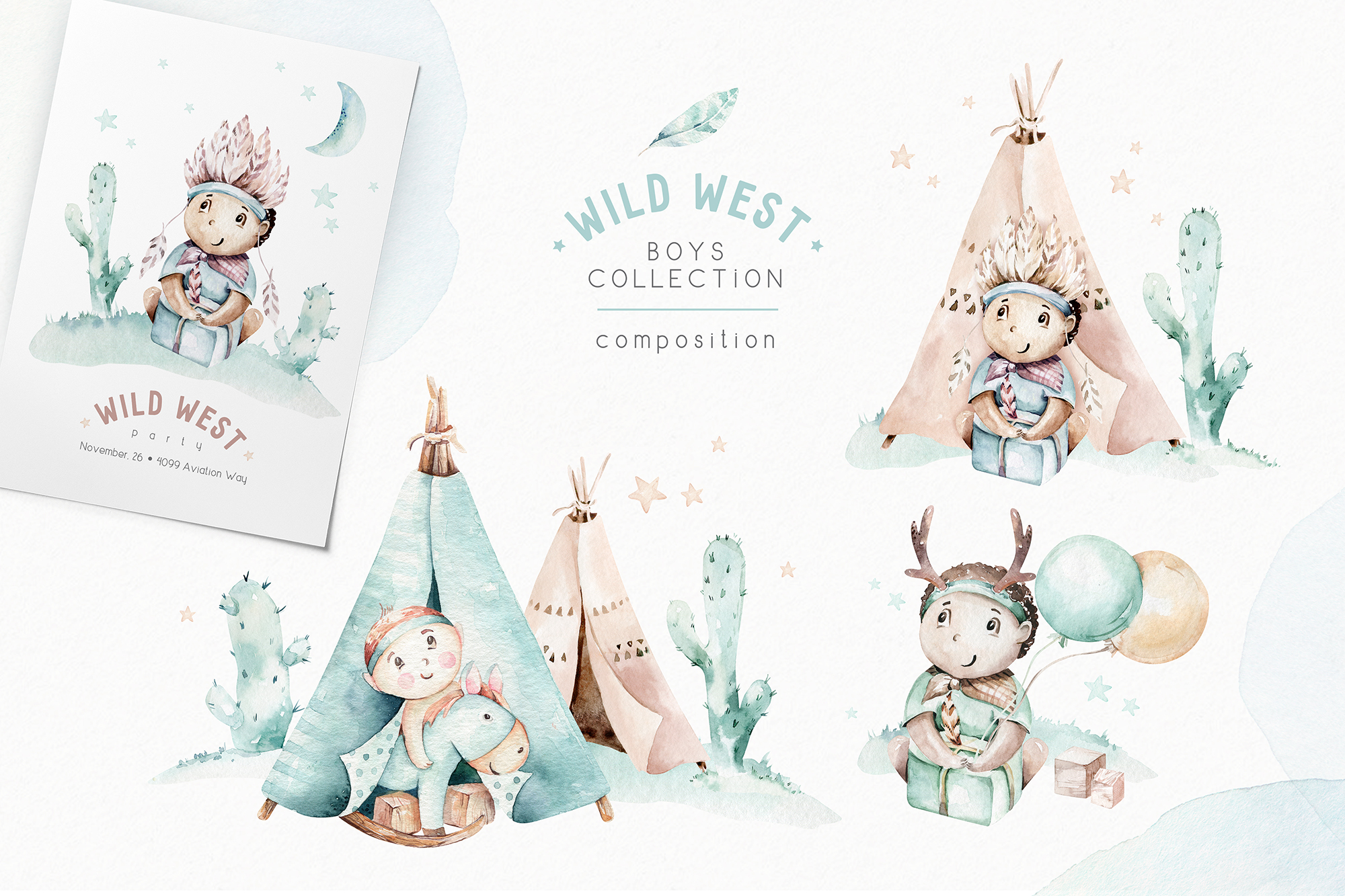Wild West Set - Boys World Watercolor Collection