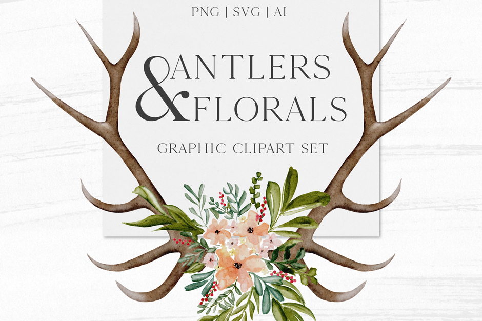 Antlers & Florals Graphic Collection