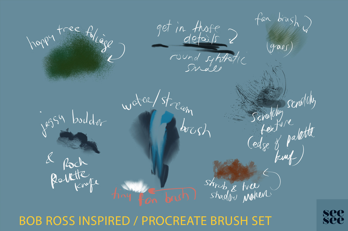Bob Ross Inspired Procreate Brushes