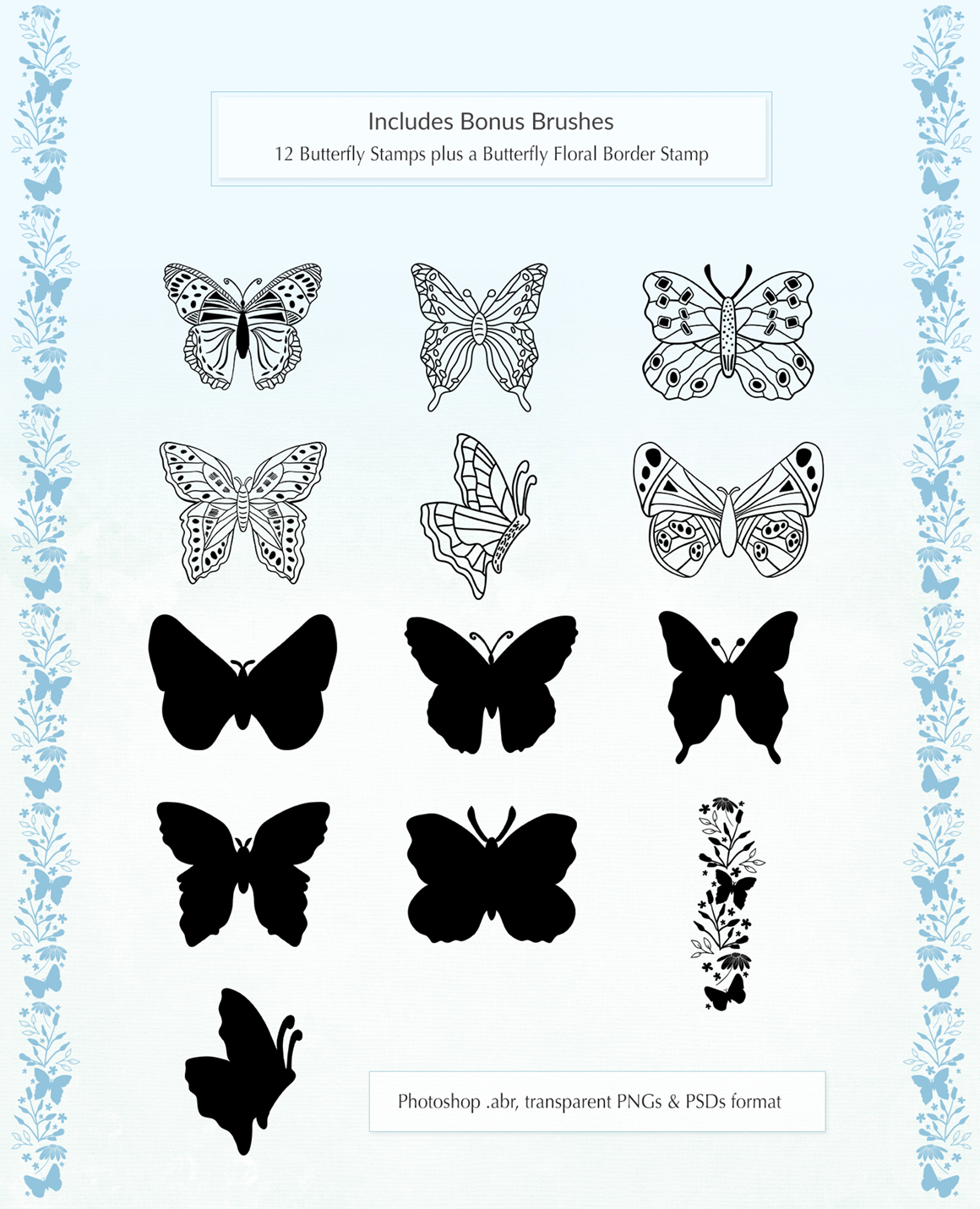 Butterfly Patterns, Papers and Brushes Set
