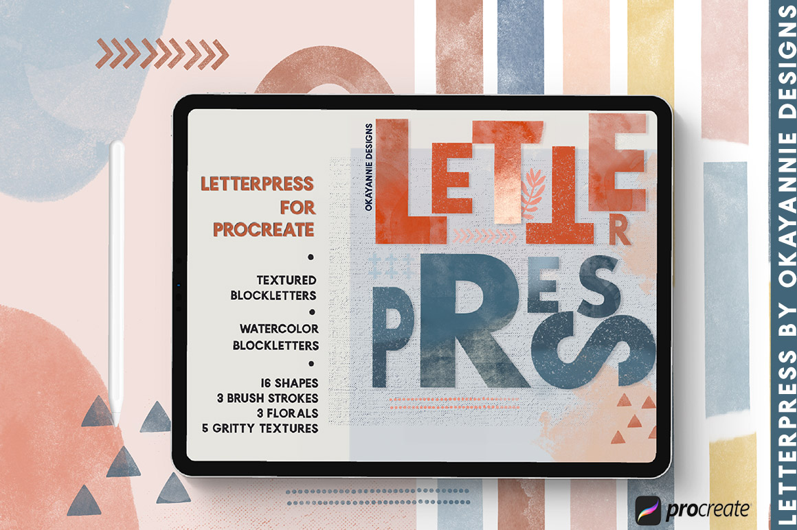LetterPress Brushes for Procreate
