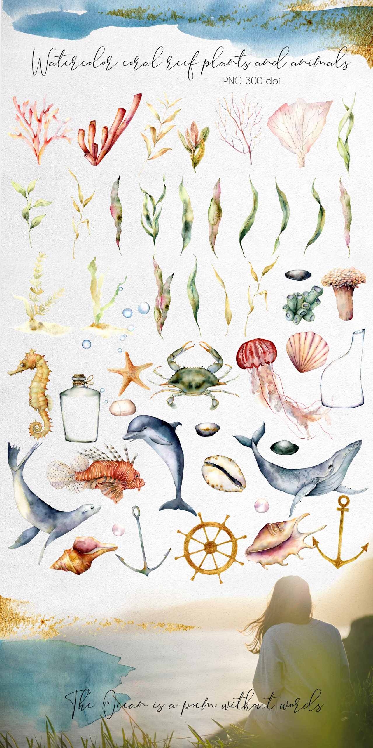 Ocean Soul. Watercolor Underwater Clipart
