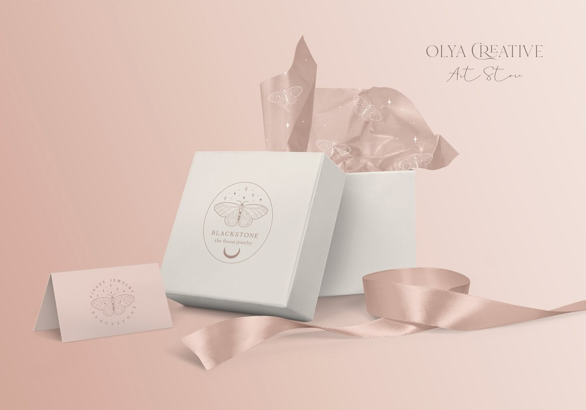 Pre-Made Logo Template and Packaging - Moon Butterfly