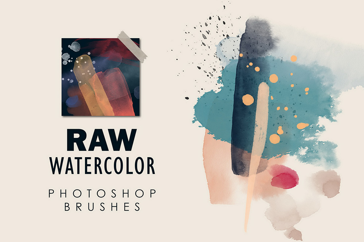 Raw Watercolor - Photoshop Stamp Brushes