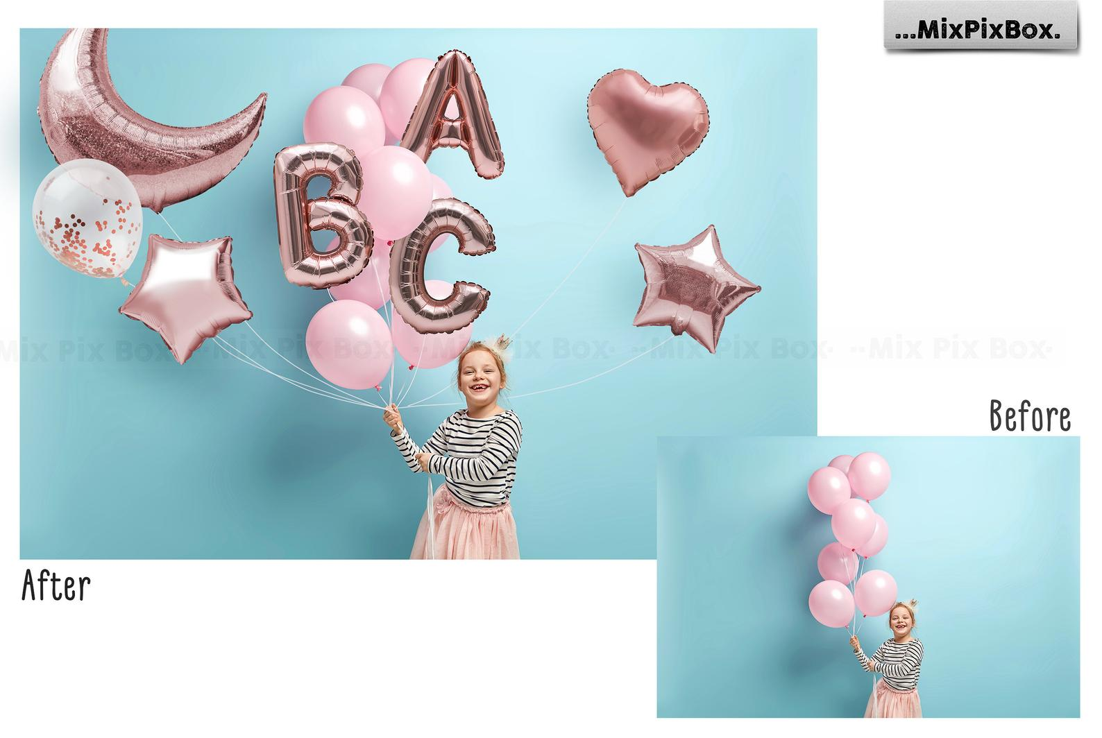 Rose Gold Foil Balloons Overlays