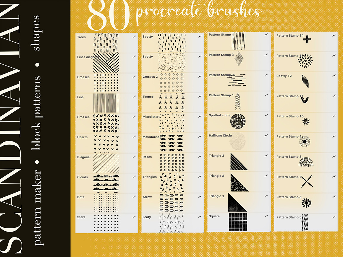 Scandinavian Pattern Maker Brushes for Procreate