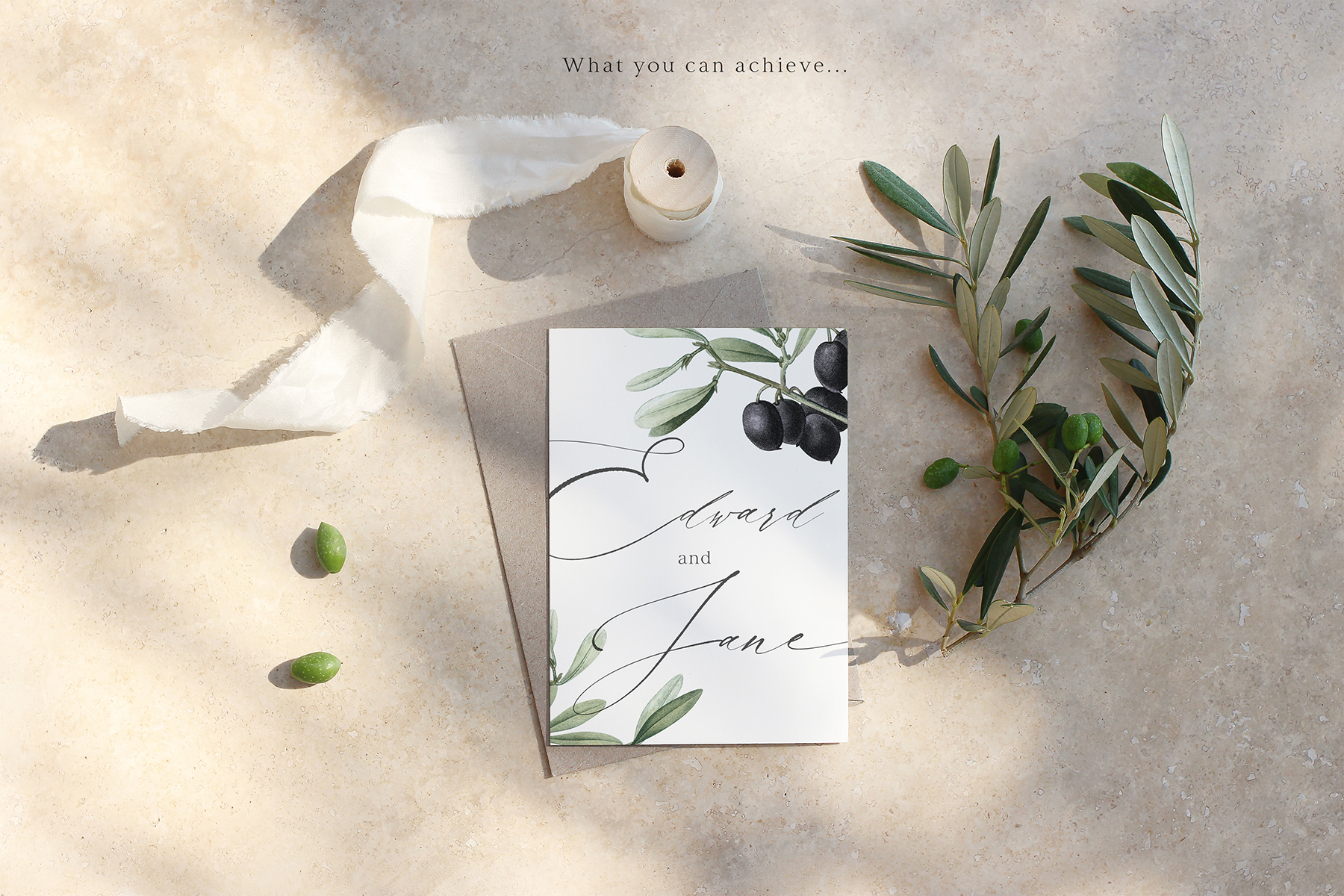 Summer Olive Wedding Mockups & Stock Photos Set
