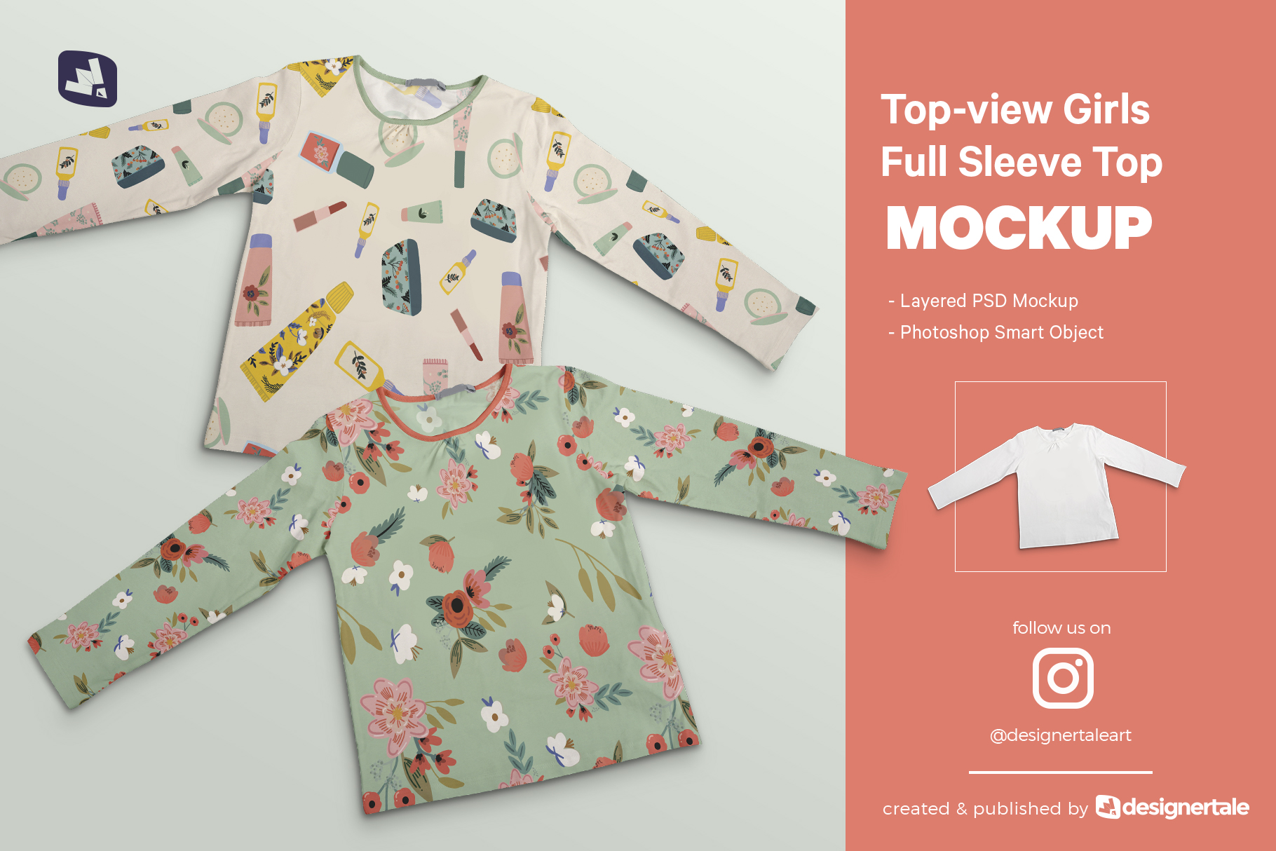 Top-View Girl's Full Sleeve Top Mockup