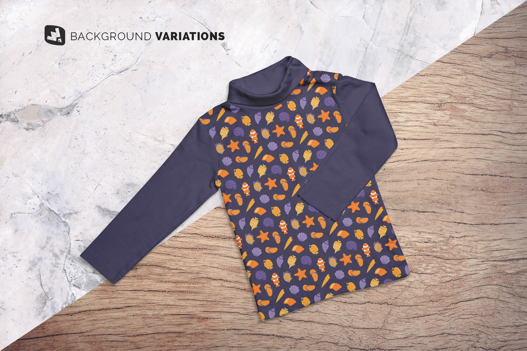 Top View Toddler Turtle Neck Tshirt Mockup
