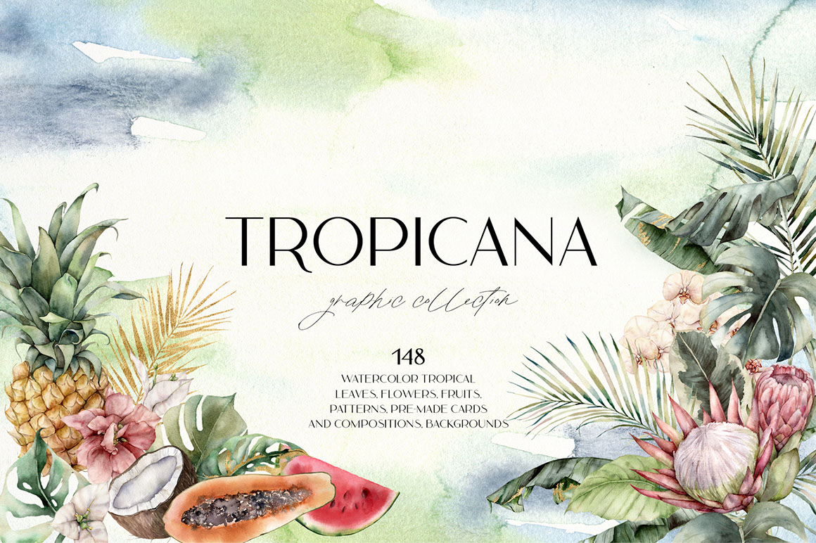 Tropicana - Watercolor Tropical Leaves, Flowers