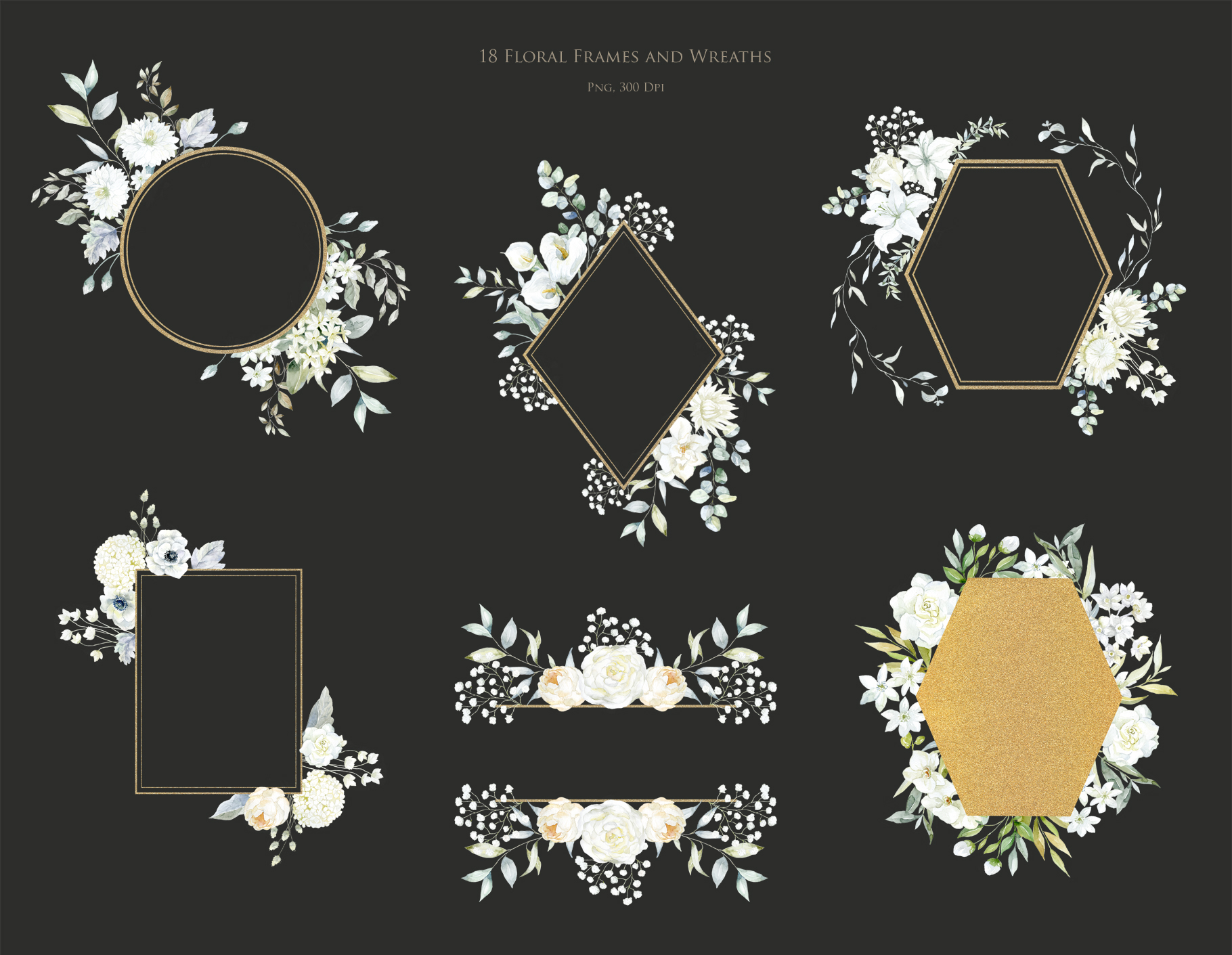 White Flowers, Wedding Frames & Women Heads. Moon.
