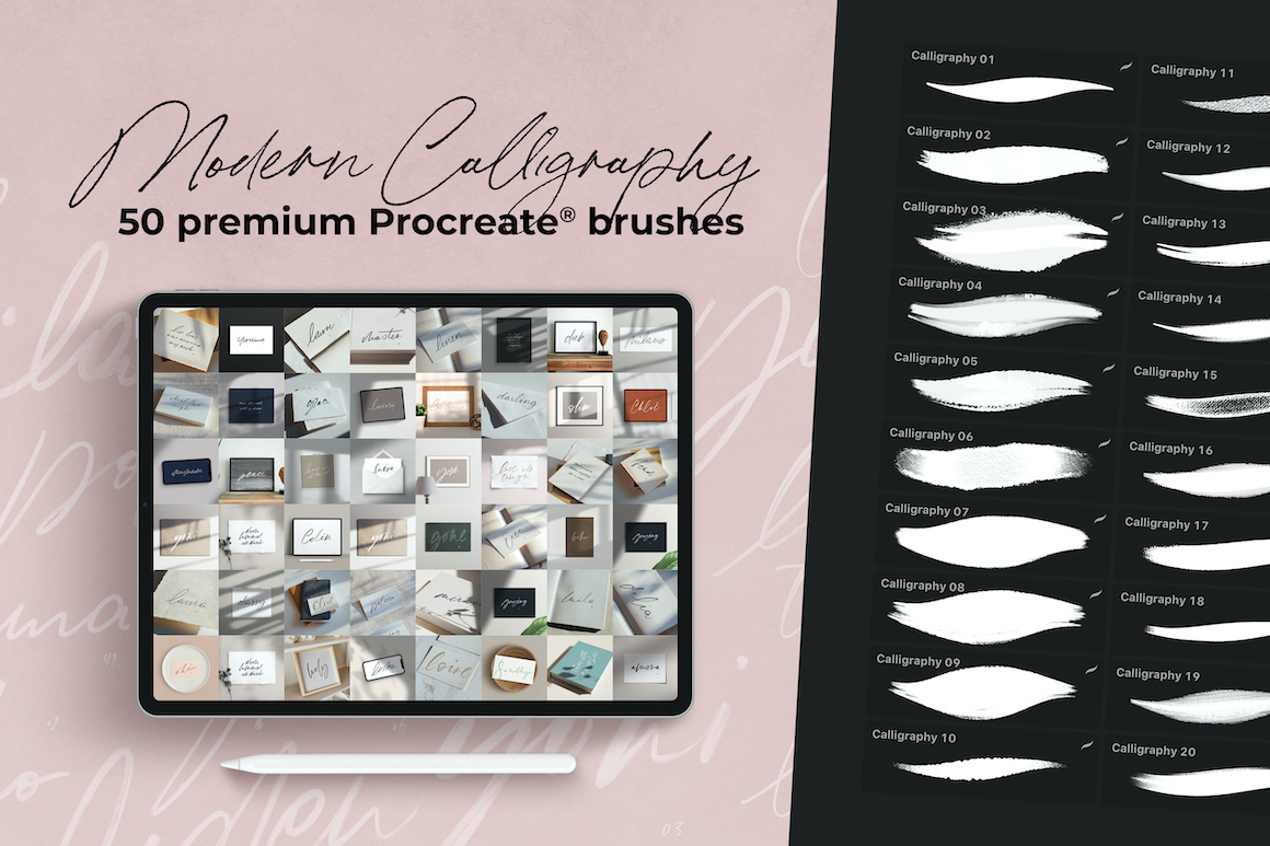 50 Modern Calligraphy Brushes for Procreate