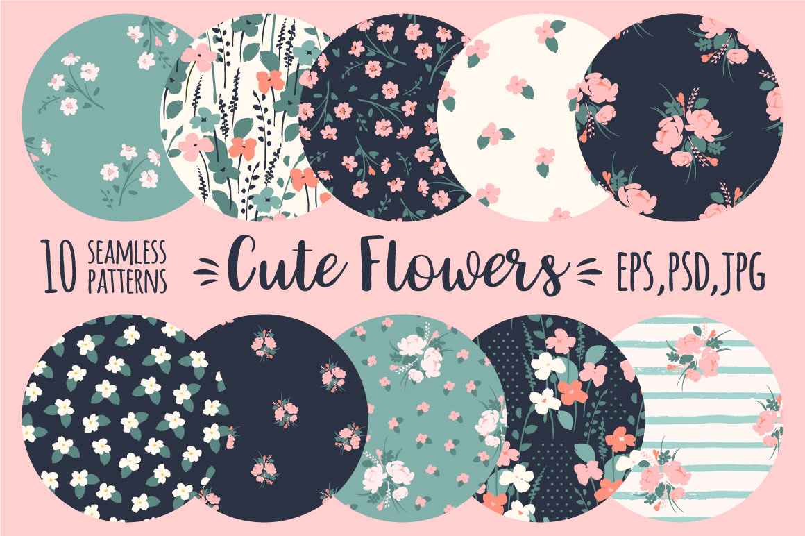 Cute Flowers. 10 Floral Abstract Seamless Patterns