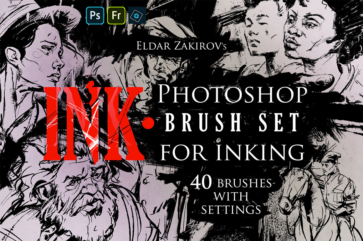 INK 40 Photoshop Brushes