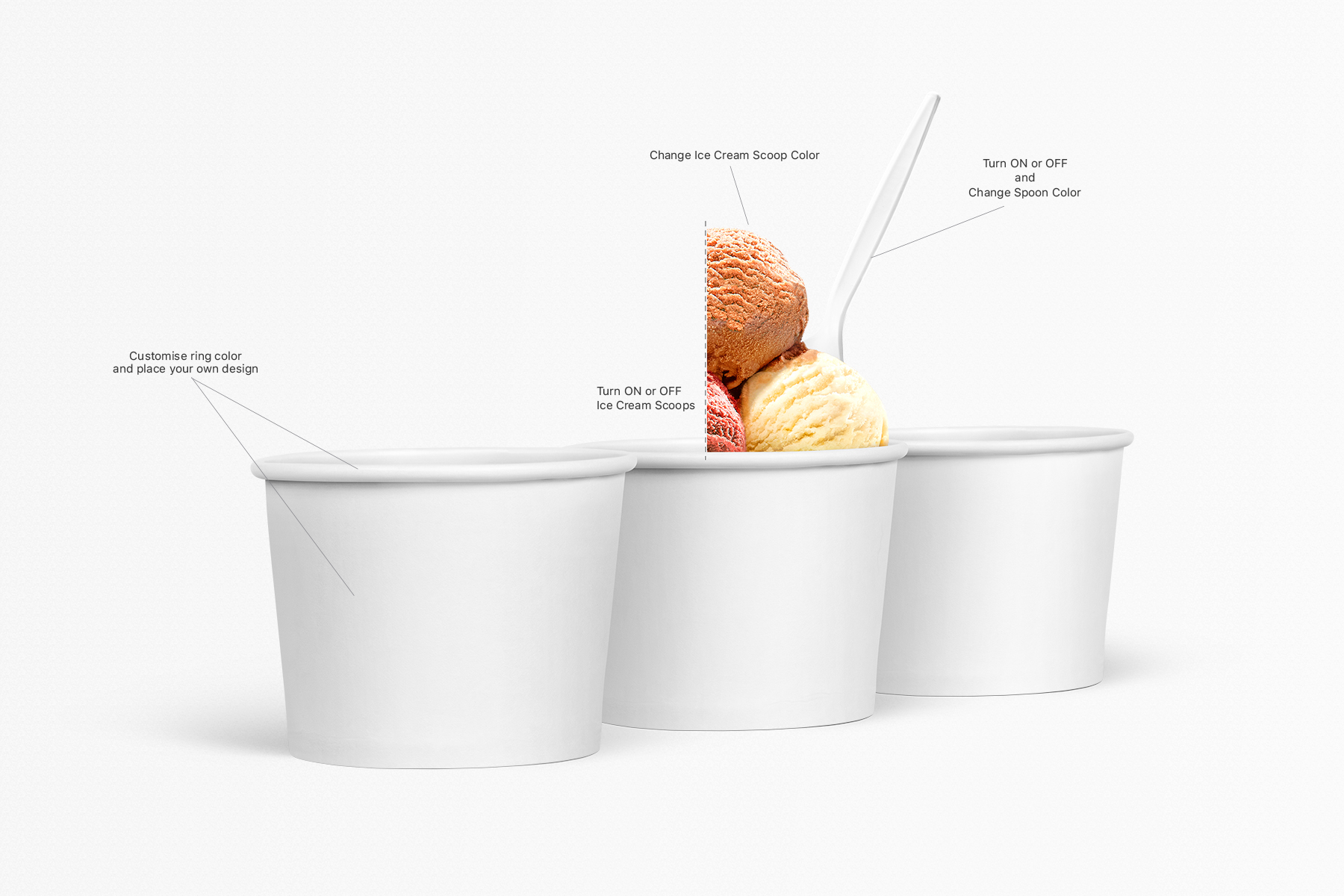 Ice Cream Cup Mockups Set