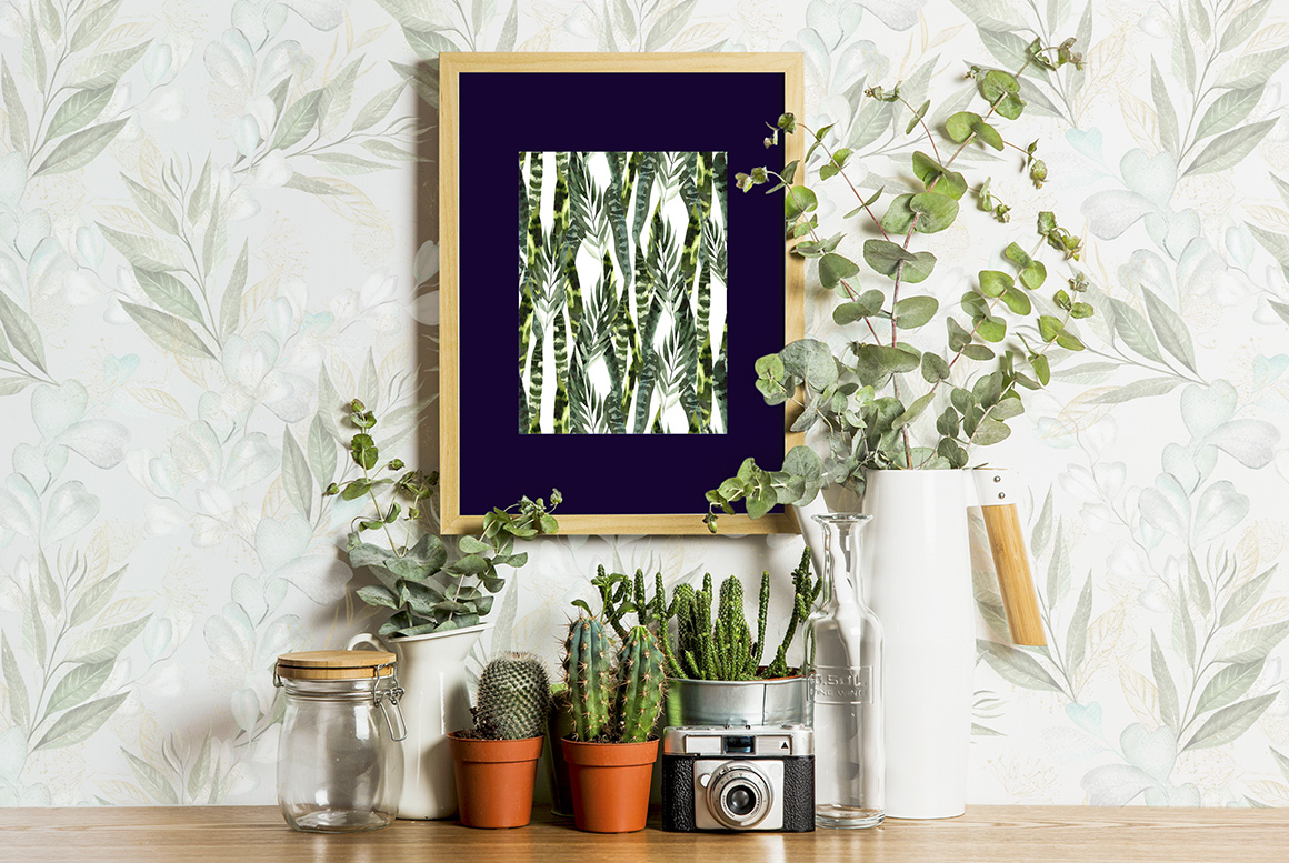 Set of Watercolor Eucalyptus & Leaves