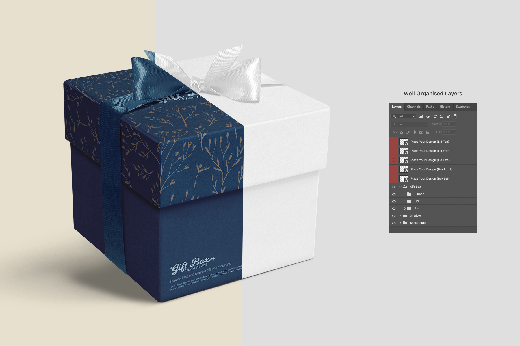 Square Gift Box Mockups Set