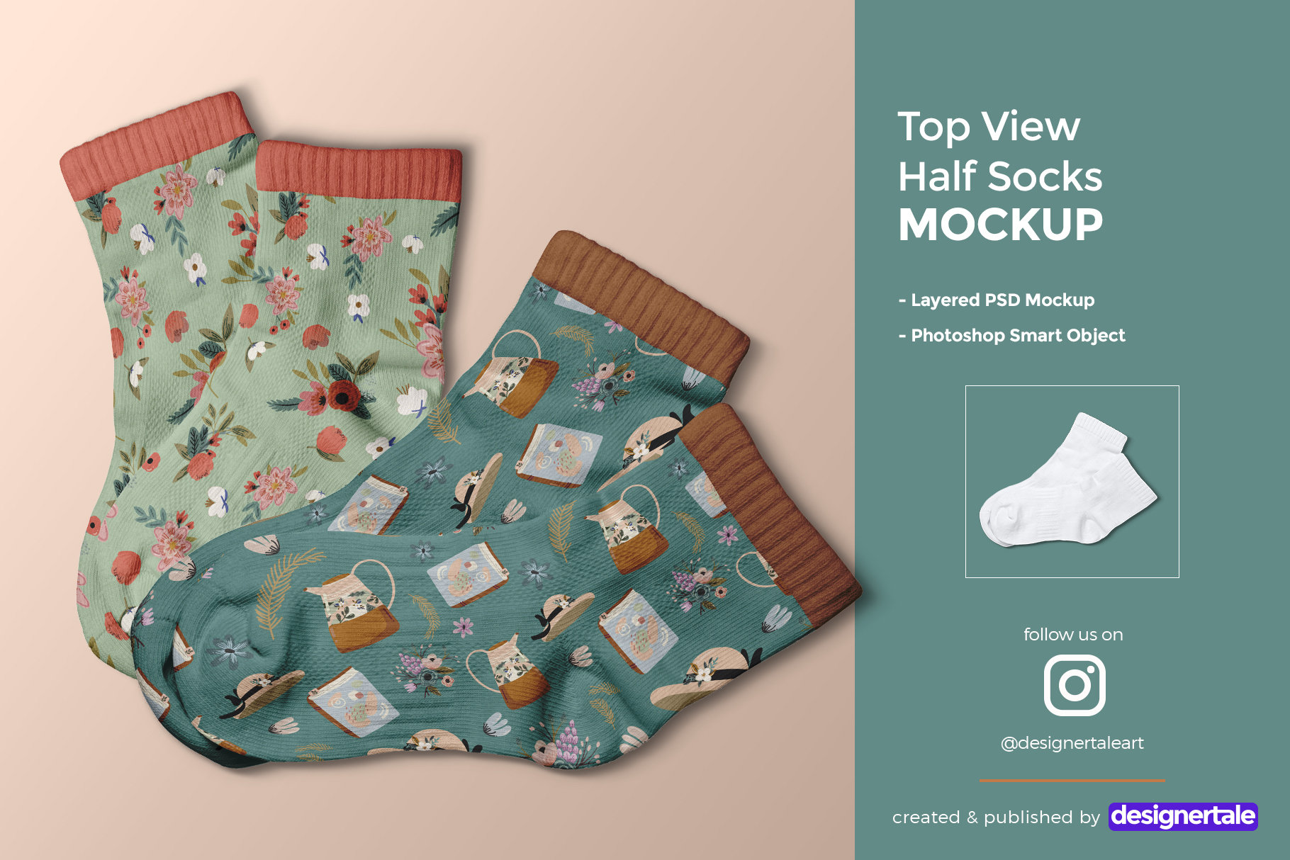 Top View Half Socks Mockup