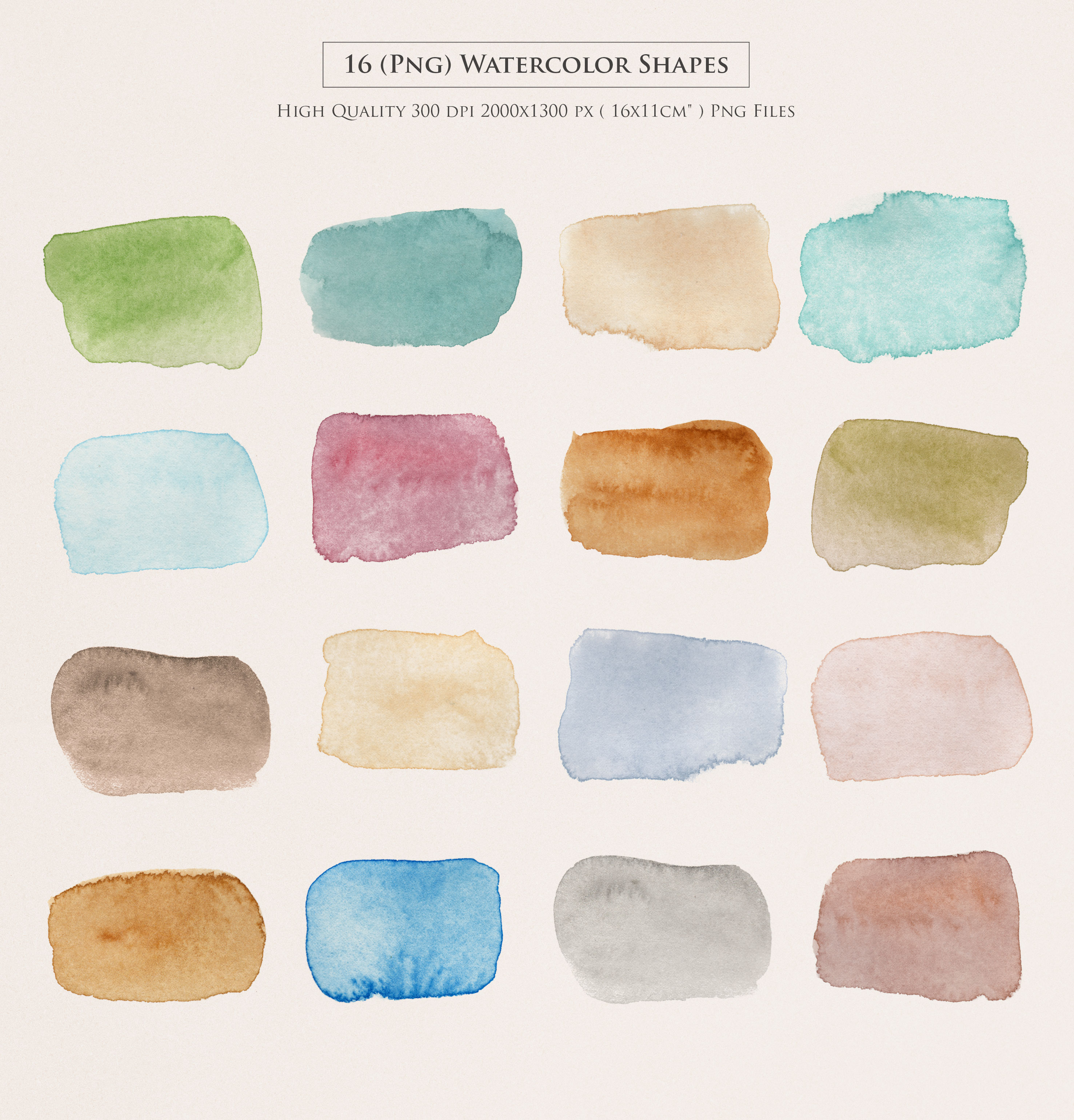 Watercolor Shapes PNG Overlays